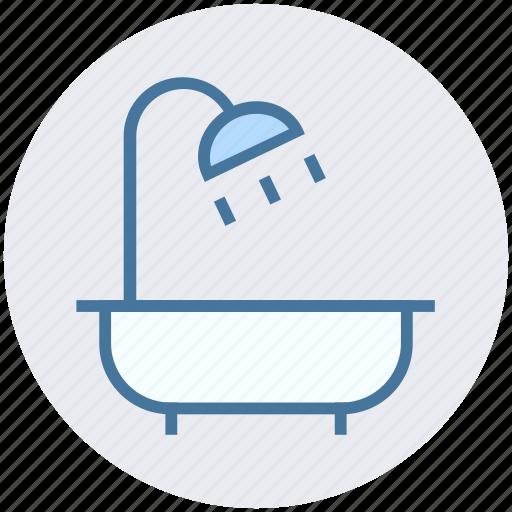 bathtub, construction, restroom, shower, towel, tub, wash bathroom icon