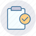 accept, clipboard, construction, document, engineering list, file, house papers icon