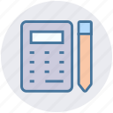 calculation, calculator, construction, math, pencil, tool icon