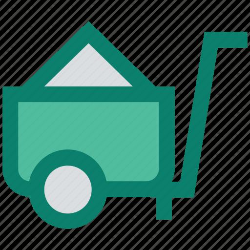 barrow, cart, construction, garden trolley, hand cart, hand truck, trolley icon