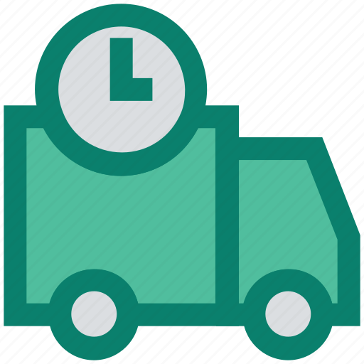 clock, construction, deadline, delivery, fast, transportation, truck icon