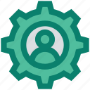 cogwheel, construction, gear, gear wheel, options, person, setting icon