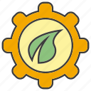 cog, gear, leaf icon
