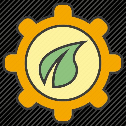 cog, gear, leaf icon