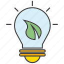 bulb, creative, eco, idea, leaf, light, think icon