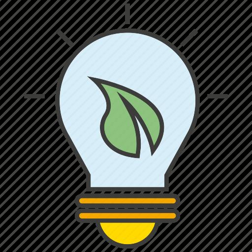 bulb, creative, eco, idea, leaf, light, think icon