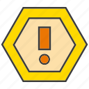 caution, exclamation mark, warning sign icon