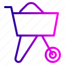 buggy, cart, concrete, constructikon, tool icon