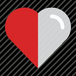 bookmarks, favorites, half heart, heart, love icon