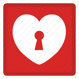 heart, key, lock, safety, security icon