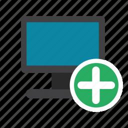 add, add computer, computer, desktop, display, monitor, pc icon