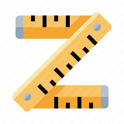 feet, folding ruler, inches, length, tape measure, width, yard stick icon