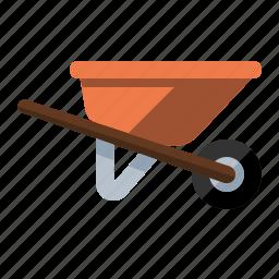 cart, dirt, haul, tool, wheelbarrow, yard work icon