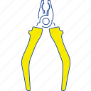 construction, equipment, metal, pliers, steel, thin, tool icon