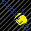 chain, electric, equipment, saw, thin, tool, work