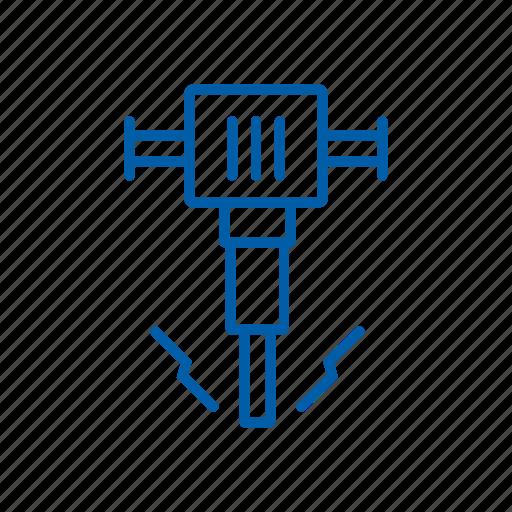 construction, equipment, hammer, jackhammer, repair, road crew, tool icon icon