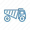 dump, logistics, mining, shipment, tools, transportation, truck icon icon