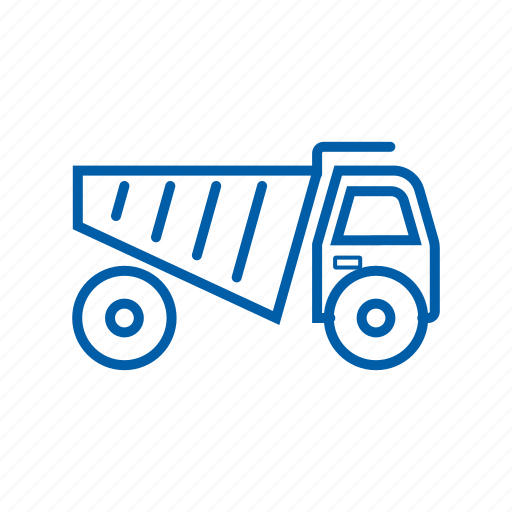 dump, logistics, mining, shipment, tools, transportation, truck icon icon