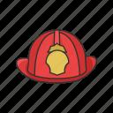 cap, fireman gear, fireman hat, gear, hat, head protector icon
