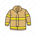 bunker gear, coat, fireman gear, gear, turnout gear, uniform
