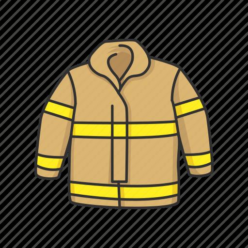 bunker gear, coat, fireman gear, gear, turnout gear, uniform icon