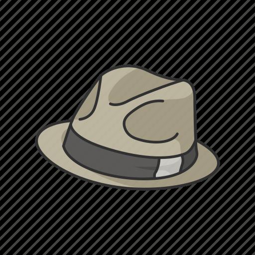 cap, detective, detective hat, fedora, hat, profession icon