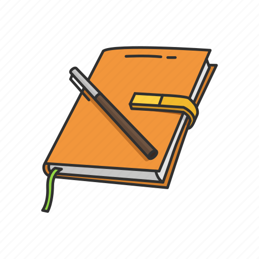 journal, lesson plan, notebook, notes, pen, planner, record icon