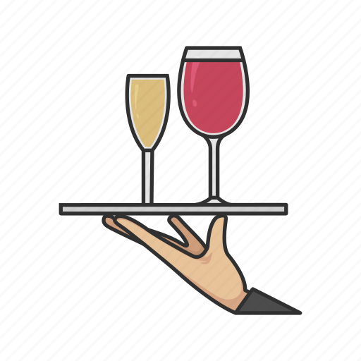 champagne, order, serve, tray, waiter, wine icon