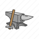 anvil, anvil and hammer, blacksmith, hammer, metalsmith, smithing, steel icon