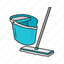 cleaning, household, janitor, mop, pail, pail and mop