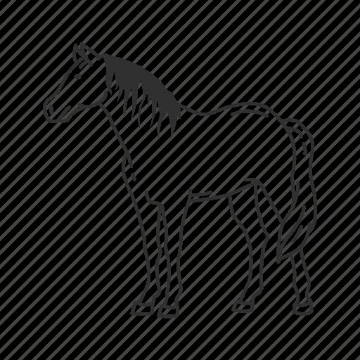 domestic horse, equidae, equus ferus caballus, horse, large land mammal, pony, wild horse icon