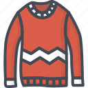 clothes, filled, outline, sweater, winter icon