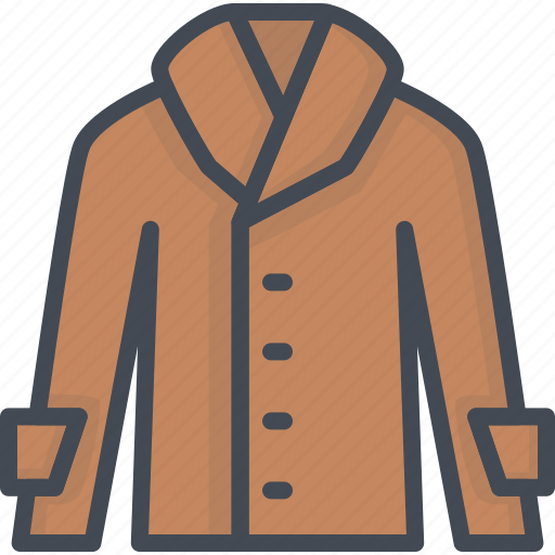clothes, coa, coat, filled, leather icon