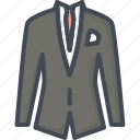 business, clothes, filled, outline, suit icon