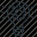 cogwheel, gear, idea, light bulb