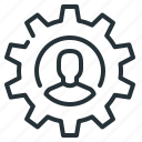 cogwheel, gear, human, person, profile, setting icon