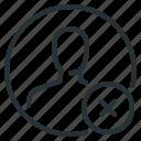 ban, delete, profile, person icon
