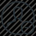 minus, person, profile, subtract icon