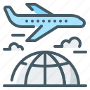 airplane, business, charter, flight, globe, trip
