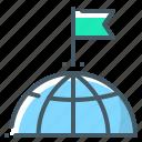 flag, globe, goal, mission, target icon