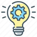 cogwheel, custom, custom design, gear, idea, light, light bulb icon