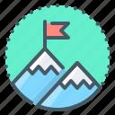 flag, mission, mountain, target icon