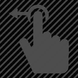 arrow, finger, gesture, hand, horizontal, left, move icon
