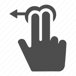 arrow, fingers, gesture, hand, horizontal, left, touch icon
