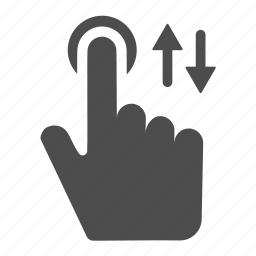 arrows, down, finger, gesture, touch, up, vertical icon