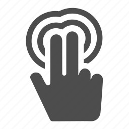 click, double, fingers, gesture, hand, tap, touch icon