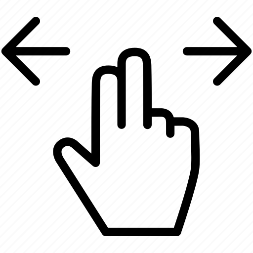 arrow, drag, finger, gesture, hand, sides, two icon