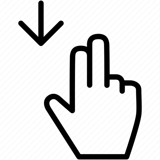 arrow, down, drag, finger, gesture, hand icon