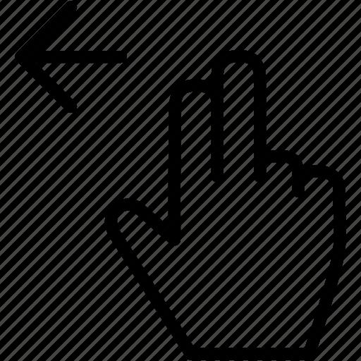 arrow, drag, finger, gesture, hand, left icon
