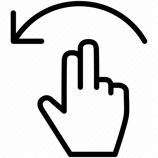 arrow, finger, gesture, hand, rotate icon